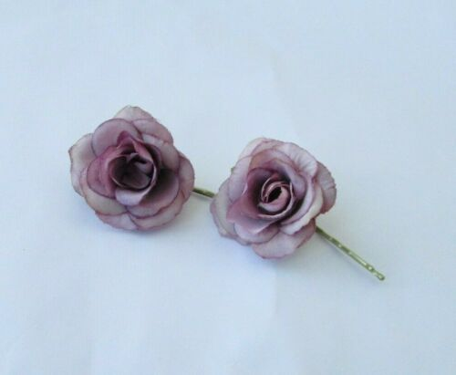 2 x Dusty Mauve Grape Purple Rose Flower Hair Grips Slides 1950s Floral Vtg 0192