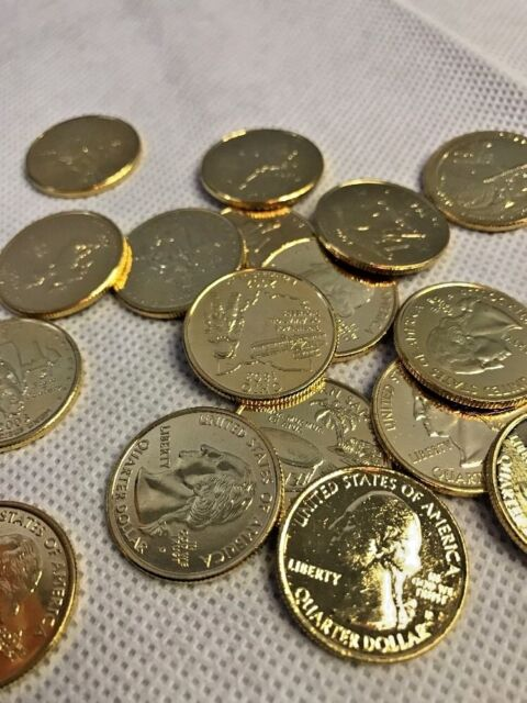 24 kt Gold-Plated State Quarter Roll of 40! Investment Quality Uncirculated MINT