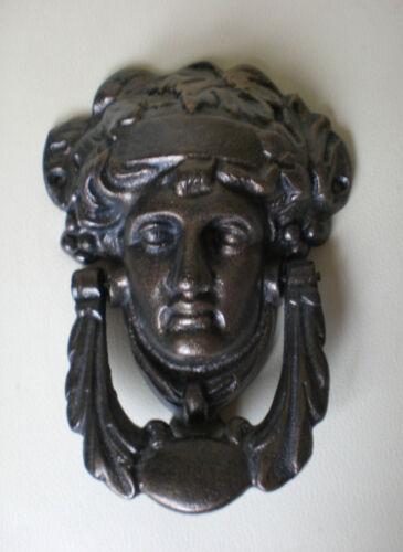 Schöner Türklopfer, Bronze, klassischer Frauenkopf, alt patiniert
