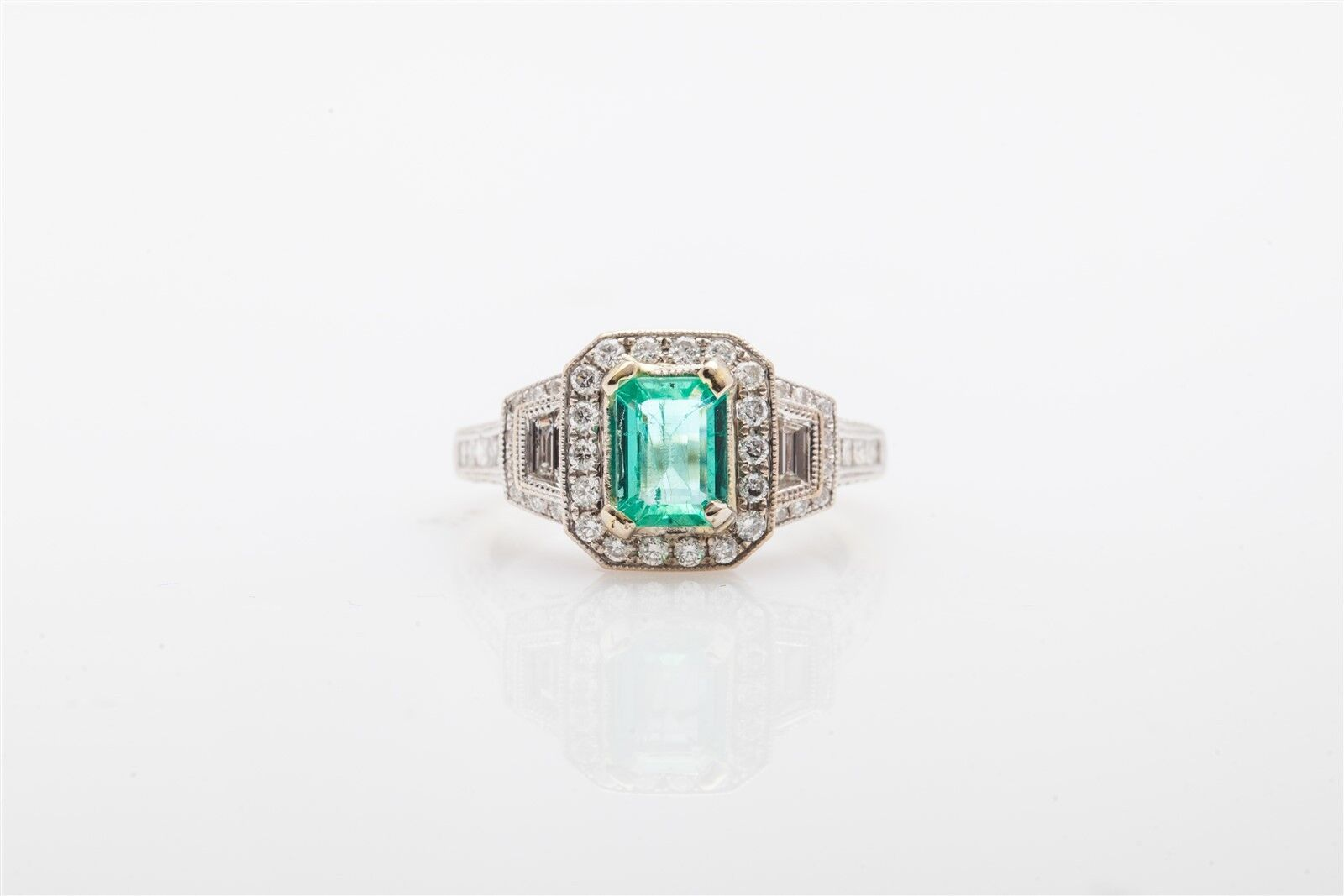 00a768f7f6e58 Signed S 8000 Kashi Ring Wedding gold 14k Diamond Emerald Colombian ...