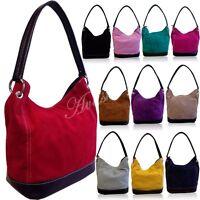 Ladies Real Italian Suede Leather Small Large Shoulder Handbag Tote Bag