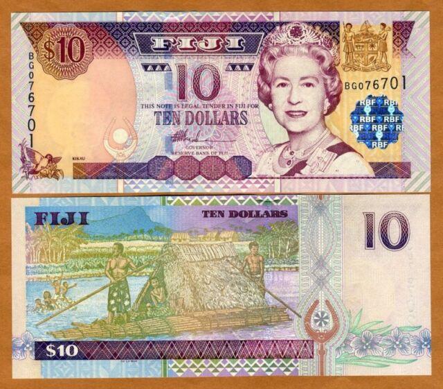 FIJI, 10 dollars, (2002) P-106, QEII, UNC