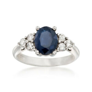 Solid-950-Platinum-Ring-2-65-Ct-Blue-Sapphire-Diamond-Engagement-Ring-Size-M-N-O