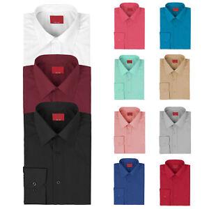 Etiqueta-Roja-vkwear-Para-hombres-Mangas-Largas-Calce-Ajustado-Elastizado-musculo-Solido-Camisa-De