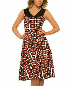 Black-And-Red-Dress-Size-14-Sleeveless-Collared-Vintage-Design-Cotton-Blend