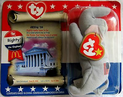 RIGHTY the Elephant 5.5 inch - In Package TY McDonald/'s Teenie Beanie 2000