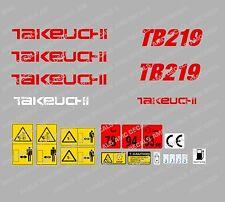 TAKEUCHI TB219 MINI BAGGER-AUFKLEBER-AUFKLEBER-SATZ MIT SICHERHEIT-WARNZEICHEN