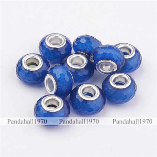Large Hole Rondelle Silver Tone Brass Cores Blue Faceted Resin European Beads
