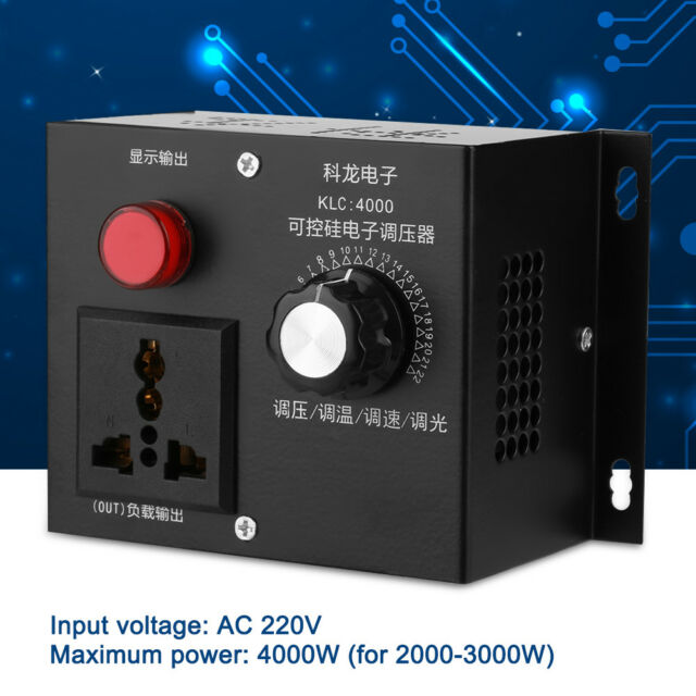 4000W AC 220V SCR Variable Voltage Controller For Fan Speed Motor Control NEW