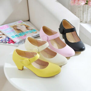 Womens-Casual-Shoes-Synthetic-Leather-Med-Heels-Ankle-Strap-Pumps-AU-Size-s299