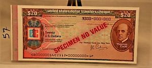 $20 US Travelers Cheque ETC Specimen Thomas Cook