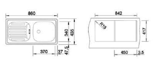 BLANCO Blancoflex Einbauspüle Edelstahlspüle Küchenspüle Spülbecken 86x43,5 cm