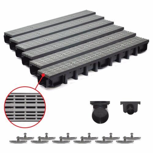 komplett Grau Line 6m Entwässerungsrinne für modulares System A15 98mm
