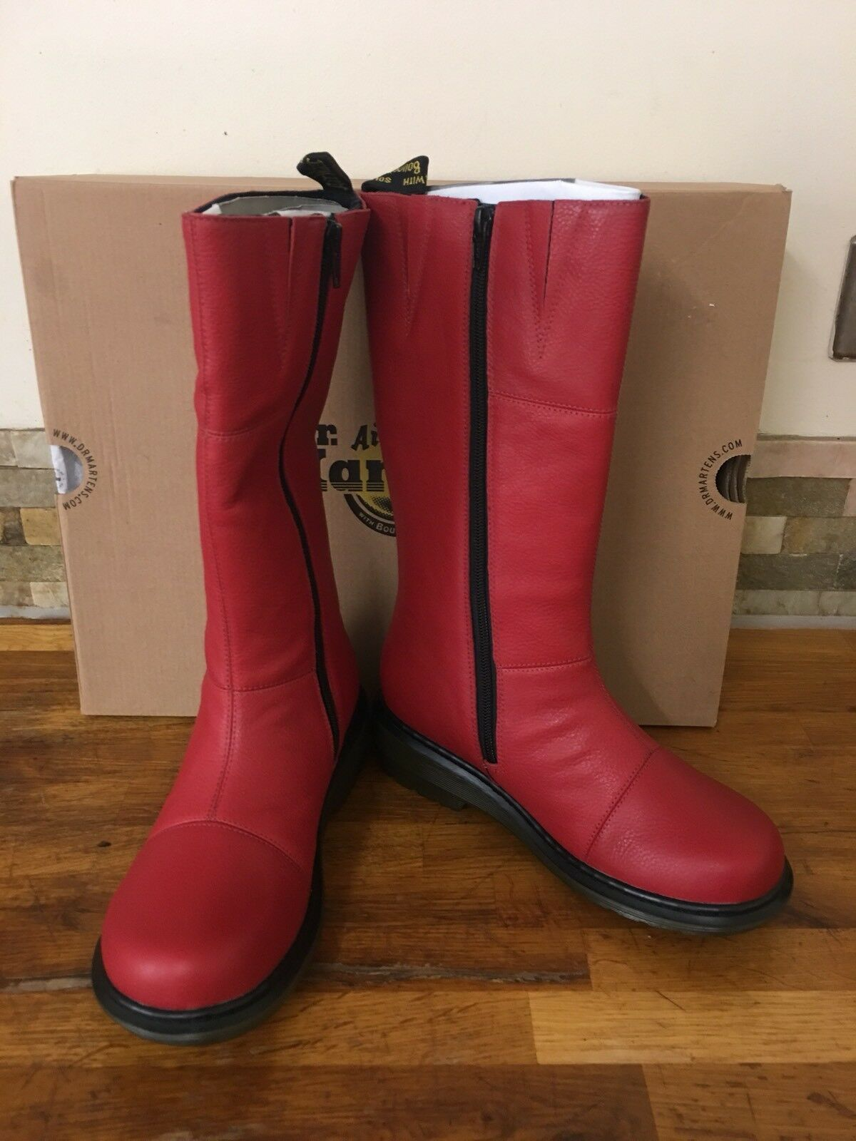 DR DR DR MARTENS rot Leather Charla Calf Stiefel UK 3 EU 36 fdee31