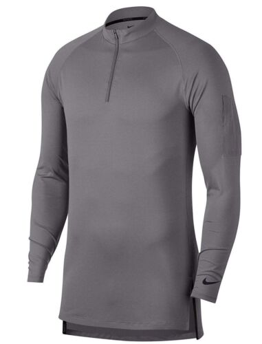 NEW Mens Grey Nike Dry Tech Utility Long Sleeve 1/4 Zip Training Top AA1589 036