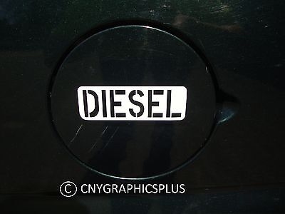 Set of 2 White DIESEL Army Style Decal Sticker Fuel Gas Cap Tank Cover Label