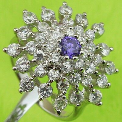 Size 6 9 Gallant White Nice Purple Flower Cz Gems Gold Filled Woman Ring K2036-2