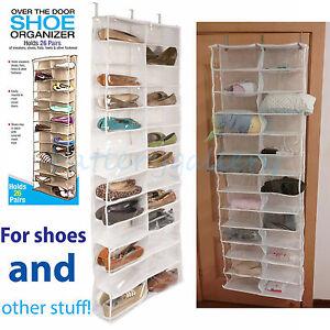 26 Pocket Over the Door Shoe Organizer Rack Hanging Storage Space Saver Hanger