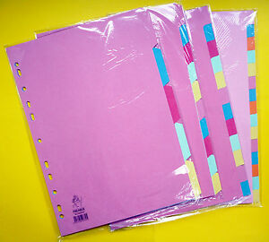 A4-Tabbed-Punched-File-Multi-Colour-Dividers-5-10-12-15-20-Extra-Wide-Tabs