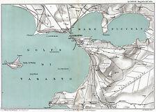 TARANTO:GRANDE CARTA GEOGRAFICA.Mar Grande,Mar Piccolo.Isole Cheradi.Puglia,1899