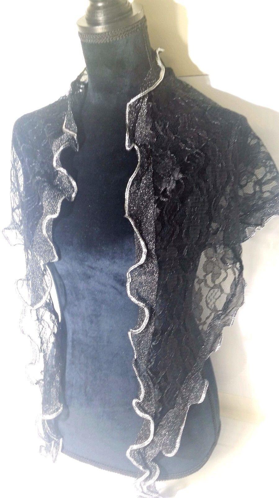 Catholic Head Scarf Church Black W/ Silver Veil Mantilla chapel lace Silky soft!