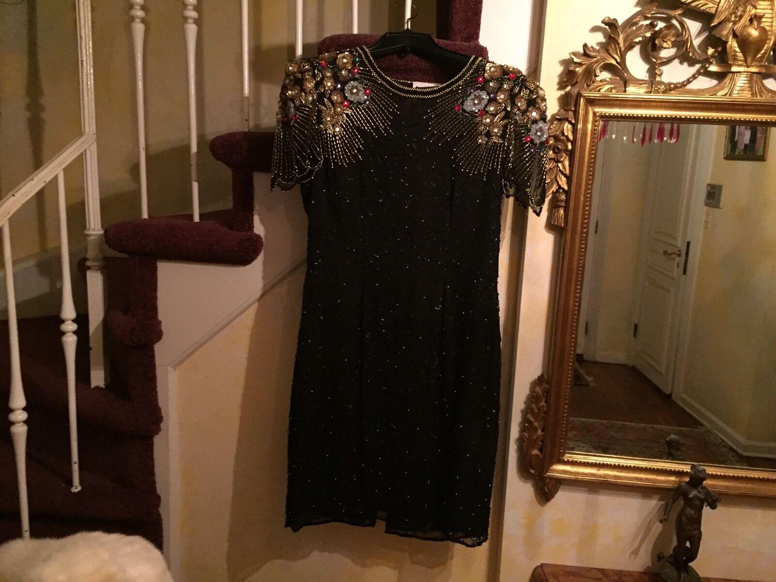 Vintage PEAK STARLINK DEVELOPMENT 100% SILK All SEQUIN EVENING DRESS L