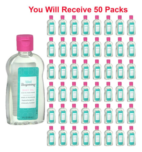 50 Pack Well Beginnings Baby Oil Hypoallergenic Moisturizing Travel Size 3oz
