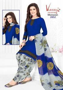 Unstitched Synthetic Soft Leon Punjabi Suit Indian Pakistan Trendy Salwar Kameez