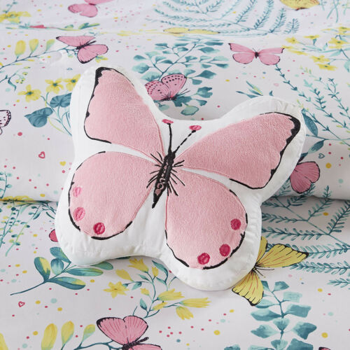 BEAUTIFUL MODERN PINK WHITE AQUA TEAL BLUE BUTTERFLY GIRL COMFORTER SET & SHEETS