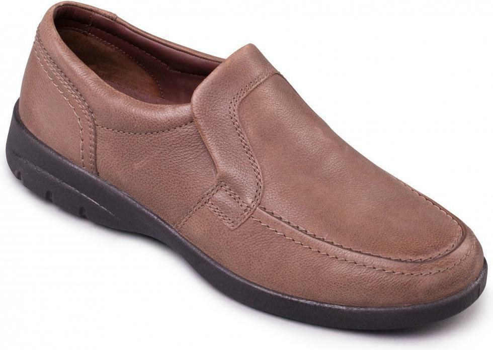 Padders LEO Mens Soft Leather Slip-On Extra Wide Fit Casual Comfy Loafers Taupe