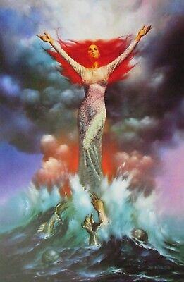 Boris Vallejo Vintage Art Nude Fantasy Print 1981 Woman Sheer Lace Auburn Ocean