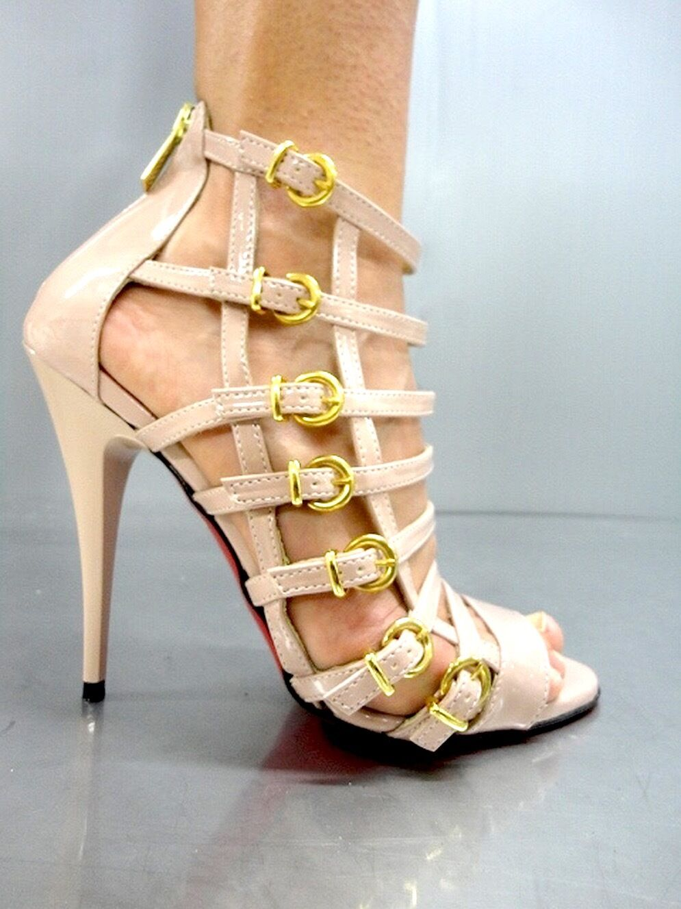 MADE IN ITALY SEXY SEXY SEXY Gold GLADIATOR SANDAL SANDALEN schuhe LEDER Rosa BEIGE NUDE 39  54eb8d