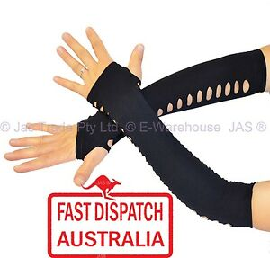 Fingerless-Arm-Warmers-Covers-Gloves-Cuffs-Spandex-Black-with-Polka-dot-HOLE