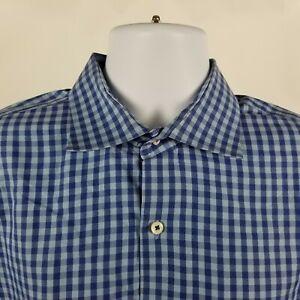 Peter-Millar-Mens-Blue-Gingham-Check-Dress-Button-Shirt-Sz-XL-Extra-Large