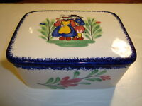 French Faience Eathenware Box With Its Lid Made By Pornic, Quimper Style, W-6.75