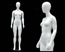 ROXY DISPLAY Abstract Female Mannequin Egg Head with base Glossy White color MZ-H1054