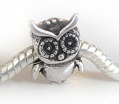 Antique Silver Plated Owl Charm Bead Fits European Bracelet / Necklace