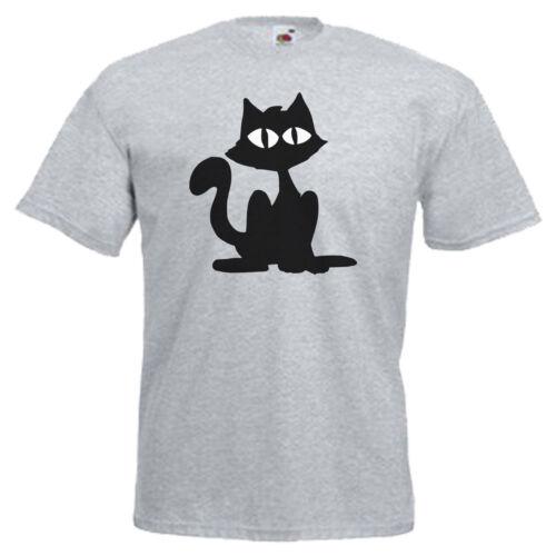 3XL Black Cat Adults Mens T Shirt 12 Colours  Size S