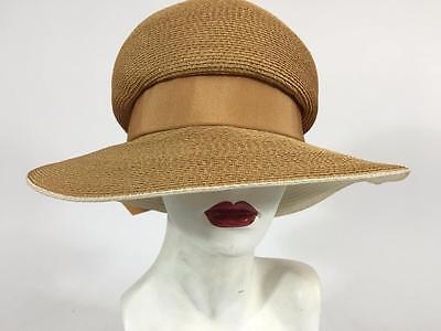 Gimbels Vintage Womens Gold Woven Straw Hat Cloche Church Wedding Orig Hatbox