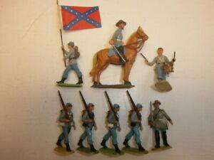 Konvolut-8-alte-Elastolin-Kunststoff-Figuren-Suedstaatler-USA-Buergerkrieg-zu-4cm