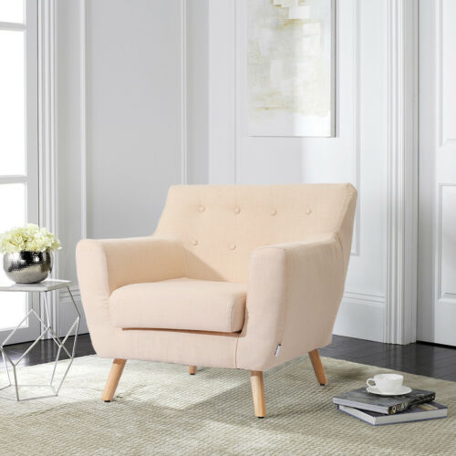 Retro Linen Office Tub Wing Chair Button Back Armchair Dining Living Room Fabric