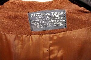 Vintage 1970s marrón ternero Chaqueta de Abrigo de cuero de