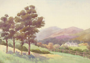 Pair-of-20th-Century-Watercolours-Summer-Landscape-with-Trees