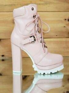 NEW Liliana Monclair-4 CamelLug Sole Lace Up Chunky Heeled Platform Ankle Boots
