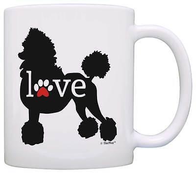 White Ceramic Cup Glass Tea Love Black Poodle Pet Dog Coffee Mug NEW