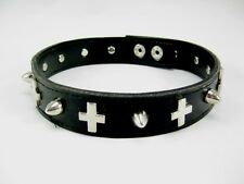 New Goth Punk Biker Faux Leather Metal Spikes & Crosses Choker Necklace  #N2511