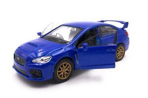 Modellino-Auto-Subaru-Wrx-Sti-Auto-Sportive-Blu-Auto-Scala-1-3-4-39-Licenza