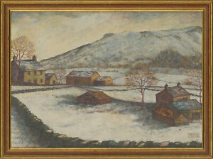 Maggie-Taylor-b-1961-Signed-20th-Century-Acrylic-Yorkshire-Farm-in-Winter