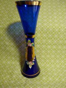 Vintage Murano Handpainted Handblown Cobalt Blue Glass Vase Flowers w Gold Trim