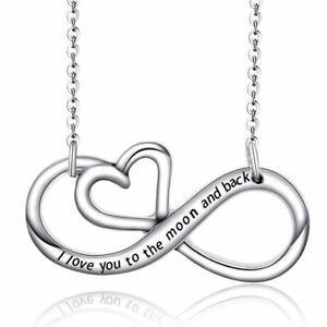UK-925-Silver-Plt-I-Love-You-To-The-Moon-And-Back-Infinity-Heart-Necklace-Gift